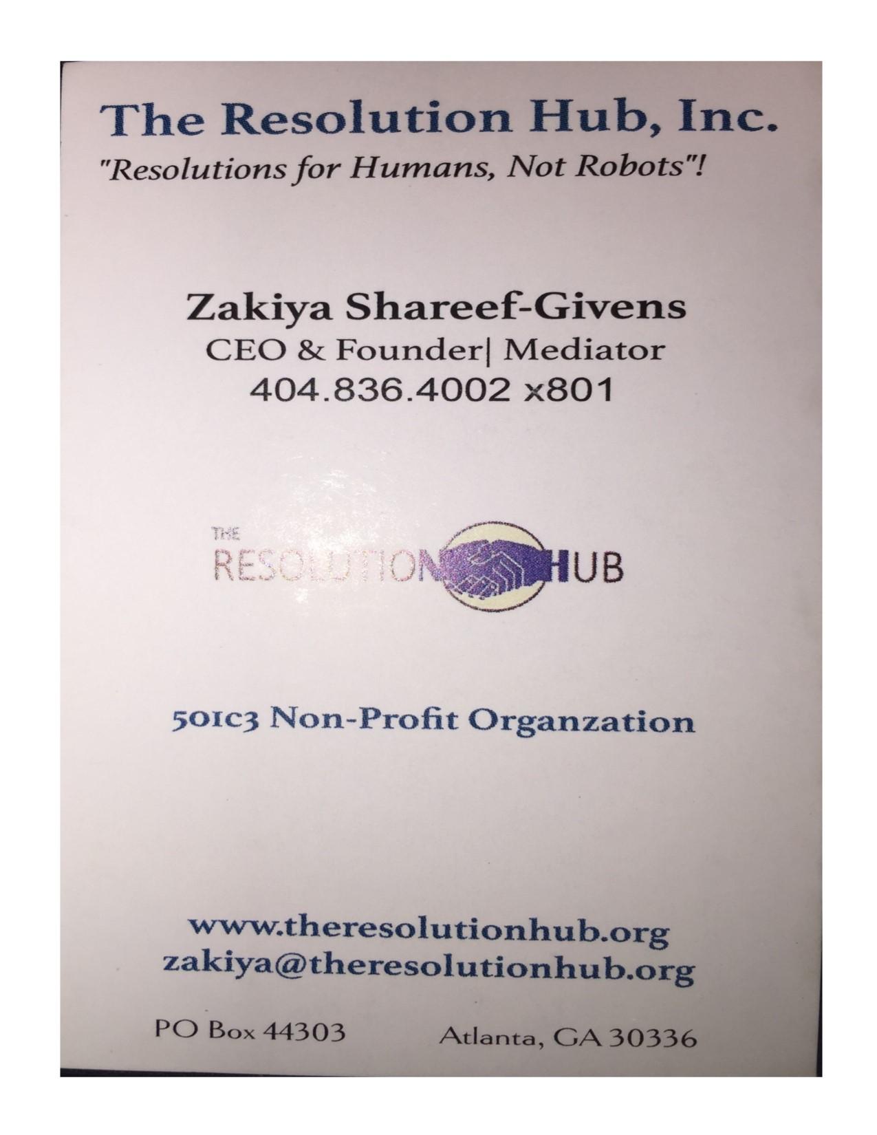 Zakiya shareef givens business card the resolution hub inc zakiya shareef givens business card colourmoves